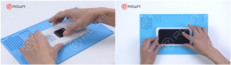 Put the phone and watch into the mold respectively and prepare for waterproofing.